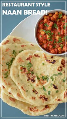 Homemade naan bread - restaurant style: Indian, side, bread, recipe, authentic, homemade, easy, vegetarian l www.prettypatel.com