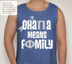 Pi beta Phi, tank, comfort colors, ohana means family, angels, arrows, halos, pi phi, greek life, sorority, sisters
