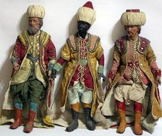 19th Century - Italian Neapolitan 3 Magi Kings - Creche Dols withl Glass Eyes - 20 Inches Tall.