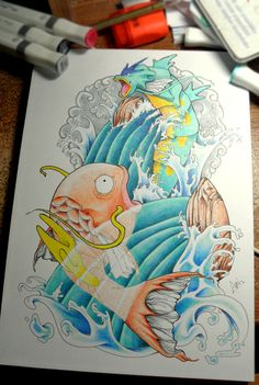 Awesome pokemon tattoo design by Dieter Brandau