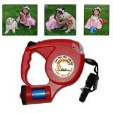 Dawgeeze Dog Retractable Leash-Red Heavy Duty Designer Plastic Case -16 Ft. Retractable Leash-With Night Light and Easily Replaceable Waste Bag Holder-Great for Large or Small Dogs-A Dog Accessory for Running and Bike Riding-Four (4) Free Dog Training