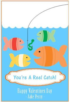Fish Themed Printable Valentines with gummy worms or Swedish fish