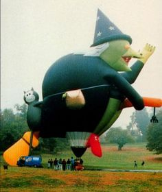 Balloon-Hilda, the witch on a broomstick hot-air balloon