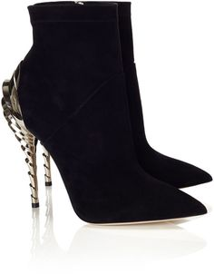Paul Andrew Black Suede Chrysler Ankle Boots - Paul Andrew 's shoes are a favourite of fashion insiders the world over. His stylish designs are an almost irresistable mix of contemporary design and elegance. With their sculptural, silver coloured heel and pointed toe Andrew's Chrysler booties make a bold statement. Create an attention grabbing outfit by pairing with a statement mini and black top.