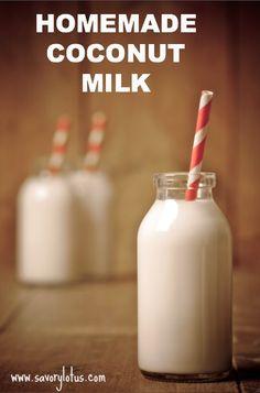 Homemade Coconut Milk | savorylotus.com #coconutmilk #dairyfree #homemade