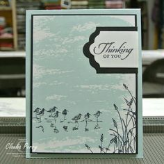 """Watercolor Wash background stamp and Wetlands stamp from Stampin Up. Background stamp stamped in """"soft sky"""" ink from SU. High Tide Stampin Up, Wetlands Stampin Up, Birthday Cards For Men, Diy Birthday, Birthday Gifts, Nautical Cards, Beach Cards, Stamping Up Cards, Bird Cards"""