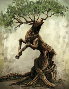 Deer, a Forest Spirit Create Your Own Picture, Fantasy Kunst, Magical Creatures, Fantasy Artwork, Fantasy World, Tree Art, Amazing Art, Cool Art, Animals