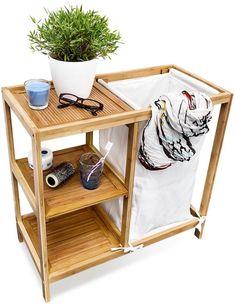 relaxdays Wasmand met 3 planken, bamboe hout, badkamermeubel, badkamer meubel, kast kastje
