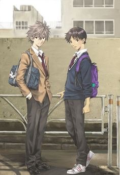 I wouldn't mind a high school tv anime revamp of EVA. Actually, I just want more EVA period. -Kaworu & Shinji from Evangelion Neon Genesis Evangelion, Manga Art, Manga Anime, Anime Art, Evangelion Kaworu, Ghibli, Beautiful Tropical Fish, Arte Disney, Manga Covers