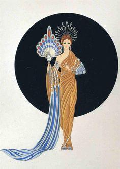 Standing and Fabulous! Athena. Artist: Erte  Style: Art Deco  Genre: mythological painting