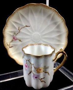 Antique-Limoges-P-amp-B-France-Demitasse-Cup-Saucer-Gold-Gilt-Hand-Painted-Teacup