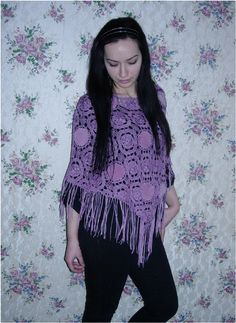 Positively Crochet!: Thrift Store Finds - My model is Mihaela Vaduva - a Romanian beauty. Her brother is married to my daughter and her sister is married to my son! That makes their children (my grandkids) double first cousins! Wallpaper in my Victorian bedroom in the background.