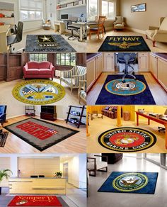 ‪#‎MilitaryMonday‬ Check out out FULL line of Military Logo Rugs. We carry all branches of the ‪#US Military
