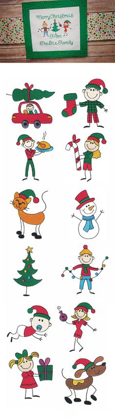 Stix Family Christmas Filled design set is available for Instant Download at designsbyjuju.com