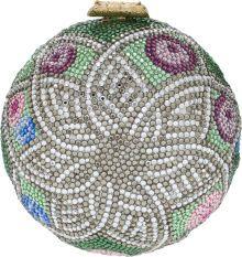 Judith Leiber Full Bead Green, Blue, & Pink Crystal Minaudiere Evening Bag.