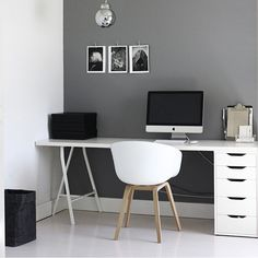 You don't have to reinvent the wall colour. Just paint it black white or GREY. We're confident it'll do the trick.  The 'long time ago' workspace of @amerrymishap doesn't seem to have dated at all...what do you think? by simple.form