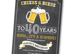 Sorpresa 40 cumpleaños invitación. Saludos y por happyappleprinting