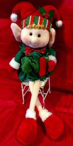 Elf Girl Posable Figure Santas Helper Plush Girl Christmas Doll Elf Jester Doll