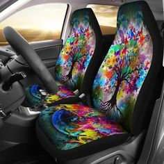 set Of 2 Front Cannabis Marijuana Leaves Vintage Custom New Universal Fit Auto Drive Car Seat Covers Protector For Women Automobile Jeep Truck Suv Vehicle Full Set Accessories For Adult Baby