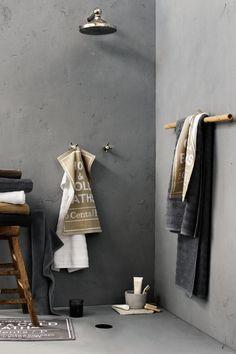 badkamer - styling - textiel - beton - grijs - douche - shower - grey - concrete #betonimprime