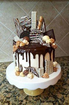 Chocolate Loaded Drip Cake Made by Delilah M. Chocolate Loaded Drip Cake Made by Delilah M. Crazy Cakes, Fancy Cakes, Bolo Tiramisu, Banoffee Cake, Cake Recipes, Dessert Recipes, Frosting Recipes, Drip Cakes, Cupcake Cakes