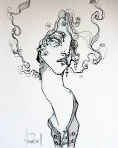 """1,358 Me gusta, 20 comentarios - Anna Tsvell (@anna_tsvell) en Instagram: """"Also added the original portrait of charismatic and talented @iamlpofficial into my online store…"""" Sketchbook Drawings, Ink Drawings, Ink Illustrations, Illustration Art, Trash Art, Cartoon Sketches, Sketch Inspiration, Art Store, Face Art"""
