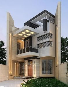 For many living in a modern house is of great importance. The house is a part of art, it is a three-dimensional sculpture,' he states. Modern Small House Design, Classic House Design, Modern Villa Design, Cool House Designs, Exterior Wall Design, Facade Design, Bungalow House Design, House Front Design, House Architecture Styles