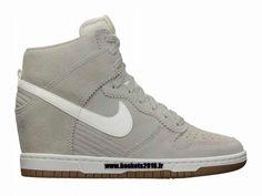Chaussures Nike Dunk Sky High Nike Officiel Pas Cher Pour Femme Gris - Blanc 528899-003