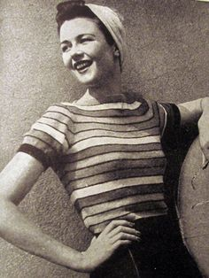 1940s Striped Jumper - free pattern | Zilredloh #vintage #knitting