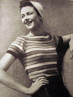 1940s Striped Jumper - free pattern   Zilredloh #vintage #knitting