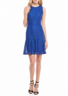 Nine West  Lace Fit and Flare Dress with Flounce Hem