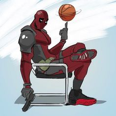 Deadpool x Air Jordan 12 Flu Game Illustration