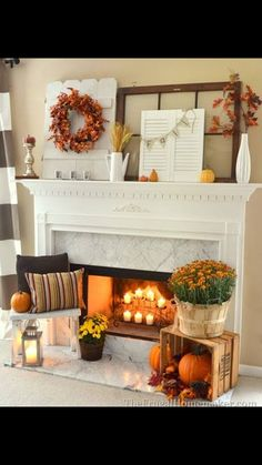 Halloween Mantel Ideas   Mantel Decorations For Hallowen   Country Living  Iu0027m Not A Fan Of Anything Too Woodsy Or Rustic, But I Love The Pumpkins In  The ... Part 70