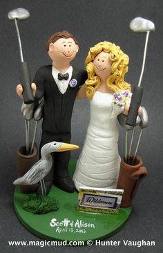 golfers wedding cake topper  http://www.magicmud.com   1 800 231 9814  magicmud@magicmud.com  http://blog.magicmud.com  https://twitter.com/caketoppers        $235 #wedding #cake #toppers #custom #personalized #Groom #bride #anniversary #birthday#weddingcaketoppers#cake-toppers#figurine#gift#wedding-cake-toppers  http://instagram.com/weddingcaketoppers  http://www.tumblr.com/blog/custom-wedding-cake-toppers  https://www.facebook.com/PersonalizedWeddingCakeToppers