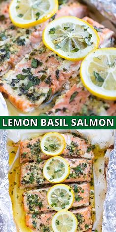 Basil & Lemon Salmon is wrapped in foil and parchment paper and then baked in the oven until tender and flaky. This healthy, easy, and low-carb seafood recipe is full of fresh basil, garlic, and lemon Healthy Salmon Recipes, Lunch Recipes, Healthy Dinner Recipes, Paleo Recipes, Salmon In Oven Recipes, Lemon Recipes Dinner, Sushi Rice Recipes, Health Recipes, Dinner Recipes For Kids