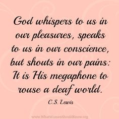 God whispers to us in our pleasures, speaks to us in our conscience, but shouts in our pain... C.S. Lewis