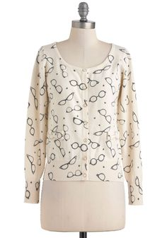 Eyewear Shall We Go? Cardigan by Yumi - Mid-length, Cream, Black, Buttons, Work, Long Sleeve, Bows, Novelty Print, Quirky, Scholastic/Collegiate