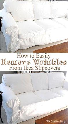 For when I ever get my Ikea furniture. How to Easily Remove Wrinkles from Ikea Slipcovers Decor, Home Diy, Home Hacks, Furniture Shop, Ikea Ektorp Sofa, Furniture, Furniture Upholstery, Ikea Furniture, Ikea