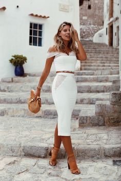 SUNSETS AND EXPLORATION | White Skirt and Top (w/ lace detail) by Love Honor, Bag by Michael Kors, Shoes by Zimmermann