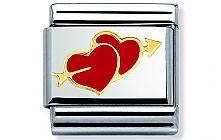 Nomination stainless steel and 18ct gold Heart with Double hearts with arrows Charm with Enamel