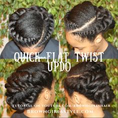 Twist out on natural and relaxed hair. Tutorials on flat twist out and many more. Natural Hair Twist Out, Natural Hair Updo, Be Natural, Natural Hair Journey, Natural Hair Styles, Long Hair Styles, Natural Kids, Natural Texture, Updo Styles