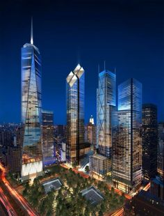 New Word Trade Center NYC Freedom tower and waterfall pools