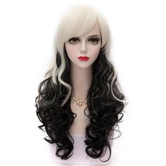Black and White Ombre Long Wavy Side Bang Synthetic Fashion Harajuku Lolita Cosplay Wig For Party