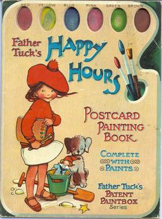 "Mabel Lucie Attwell, ""HAPPY HOURS POSTCARD PAINTING BOOK"""