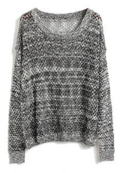 Grey Batwing Long Sleeve Hollow Kint Sweater - Sheinside.com Mobile Site