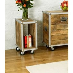 Baudouin Retro Reverie Box Shape Open Lamp Table / Bedside Table / End Table Shabby Chic Salvaged Lumber