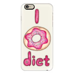 iPhone 6 Plus/6/5/5s/5c Case - I Donut Diet - cute food illustration ($40) ❤ liked on Polyvore featuring accessories, tech accessories, case, iphone, phone, iphone case, apple iphone cases, iphone cover case and iphone cases