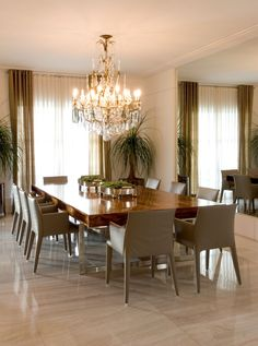 Dining room - beautiful dining set and chandelier - love the mirror