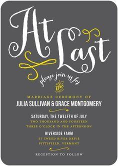Signature White Wedding Invitations At Last   Front : Dark Gray