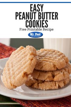 Last-minute company? Easy Peanut Butter Cookies are fast and delicious! However, you're probably gonna want these around all the time, company or not! Holiday Cookie Recipes, Easy Cookie Recipes, Holiday Cookies, Easy Peanut Butter Cookies, Christmas Cookie Exchange, Food Test, Food Festival, Easy Peasy, Sweet Stuff